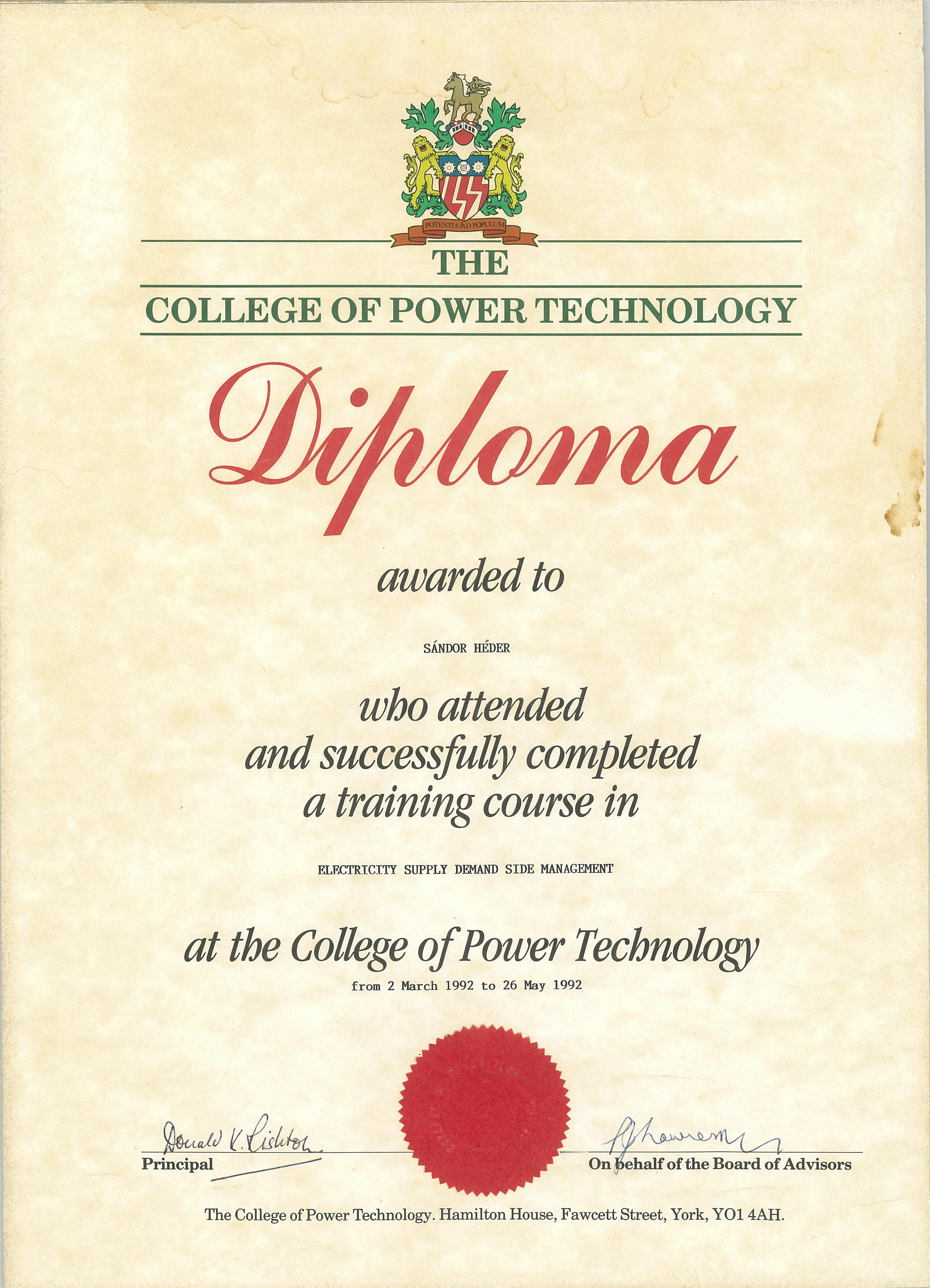 Héder Sándor - Diploma at the College of Power Technology, York